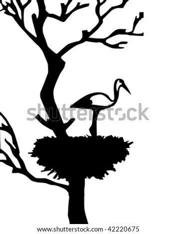 vector illustration of the crane in jack - stock vector
