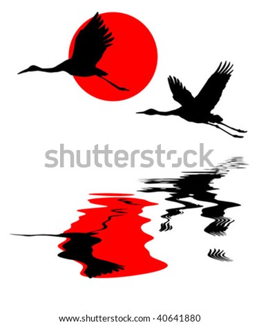 vector illustration of the cranes in sky on background red sun - stock vector