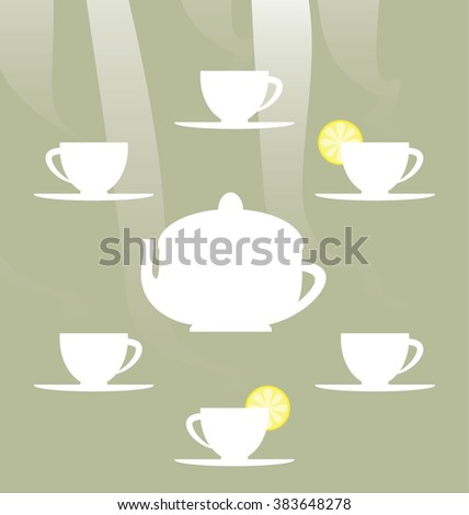 Vector illustration of the cute tea party elements. White tea pot and tea cups shapes on the scene. Modern graphic of the elements arranged in the circle. - stock vector