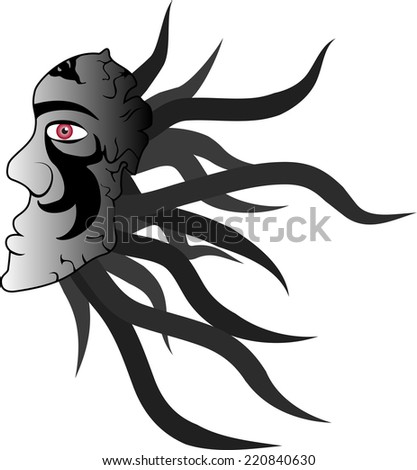 vector illustration of the dark mask profile with ornaments. Showing the darkness and fear