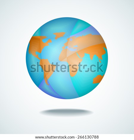 Vector illustration of the Earth globe with continents and with shadow - stock vector