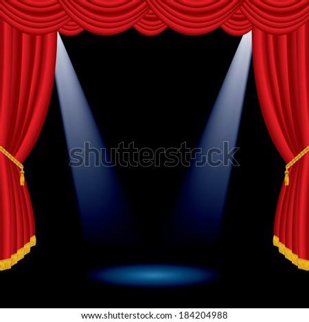 vector illustration of the empty red stage with two spotlights  - stock vector