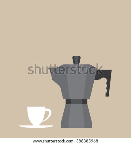 Vector illustration of the espresso coffee equipment. Simple image of the kitchen elements on the brown background. - stock vector