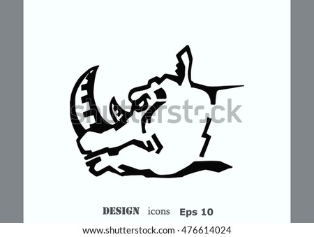 Vector illustration of the evil head, ferocious, aggressive rhino.  Predatory, dangerous beast. Angry rhino.