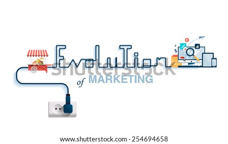 Vector illustration of the evolution of marketing. Idea of the design history of marketing. Marketing of direct selling in market to sales through electronic gadgets, computers, telephones, Internet. - stock vector