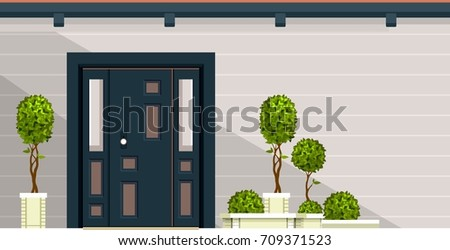 Vector illustration of the facade of a wooden house entrance door to the building of a & Doorstep Stock Images Royalty-Free Images u0026 Vectors | Shutterstock pezcame.com