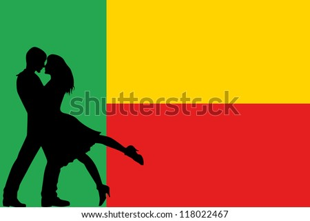 Vector illustration of the flag of Benin silhouette of a couple in love