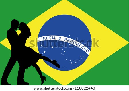 Vector illustration of the flag of Brazil silhouette of a couple in love