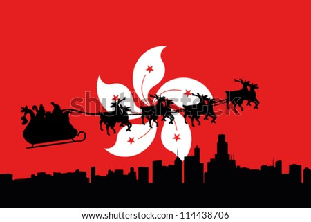 Vector Illustration of the flag of Hong Kong with santa flying his sliegh over a city