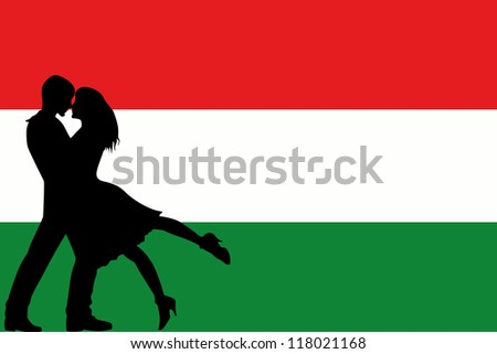 Vector illustration of the flag of Hungary silhouette of a couple in love