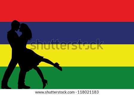 Vector illustration of the flag of Mauritius silhouette of a couple in love