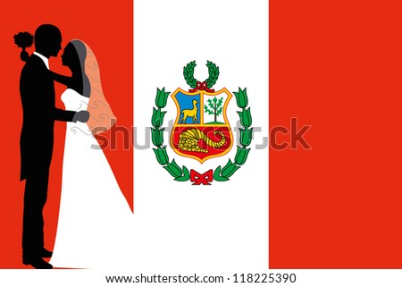 Vector illustration of the flag of Peru with a bride and groom coloured silhouette - stock vector