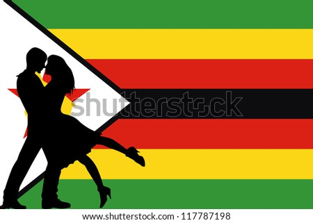 Vector illustration of the flag of Zimbabwe silhouette of a couple in love