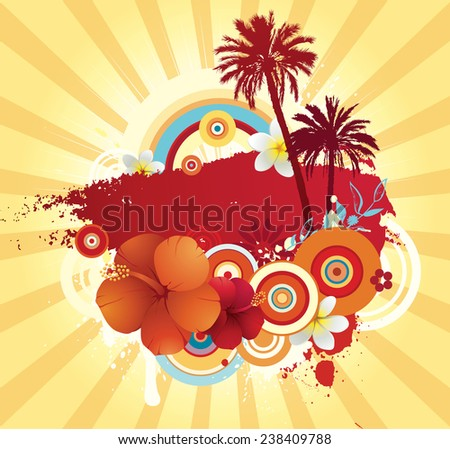 Vector illustration of the funky exotic summer design with copy space.  - stock vector