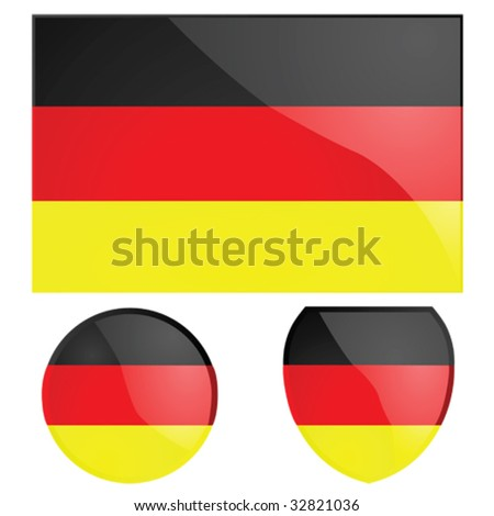 Vector illustration of the German flag, alongside a round and shield emblems