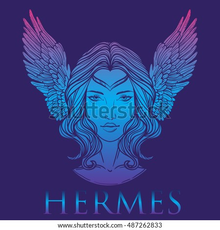 Vector illustration of the Greek god Hermes in the form of a woman. The girl goddess, Mercury with wings. goddess logo. Hand-drawn vintage linear tattoo design. Isolated vector art.
