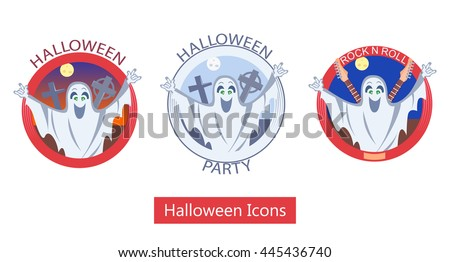 Vector illustration of the halloween icons with the ghost. - stock vector