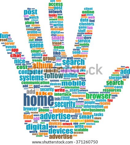 vector Illustration of the hands symbol, which is composed of text keywords on web themes. Isolated on white.