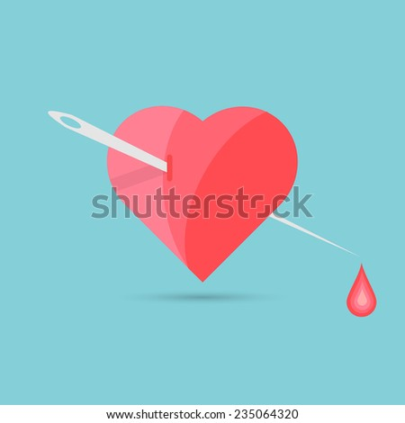 Vector illustration of the heart, needle and blood drop.
