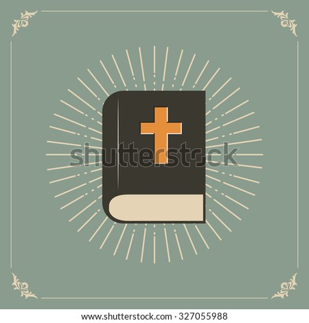 Vector illustration of the Holly Bible with sunburst.  - stock vector