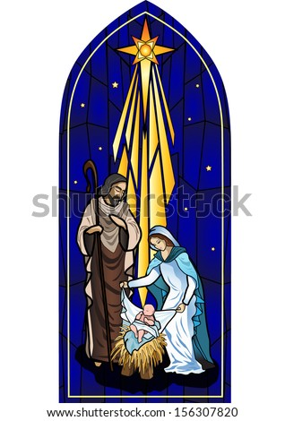 Vector illustration of the holy family of the nativity or birth of Jesus created as stained glass. - stock vector