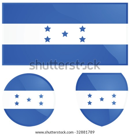 Vector illustration of the Honduras flag, alongside a round and shield emblems