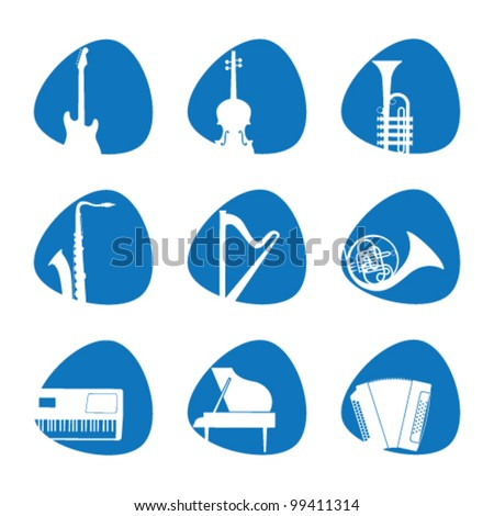 Vector illustration of the icons music instrument - stock vector