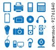 Vector illustration of the icons of the electronics - stock vector
