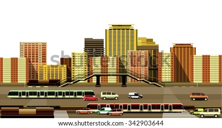 vector illustration of the industrial landscape of the city motorway and transport on a white background - stock vector