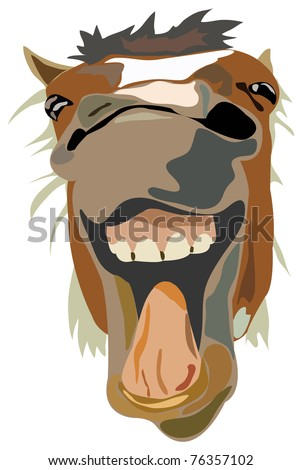 Vector Illustration of the laughing horse isolated - stock vector