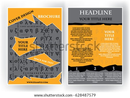 vector illustration of the leaflet cover presentation with ancient greek letters brochure flyer design