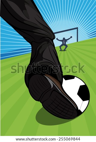 Vector illustration of the leg of a businessman playing soccer aiming for a goal across a green sports field with the goalie standing in a defensive position against a blue sky. Business concepts - stock vector