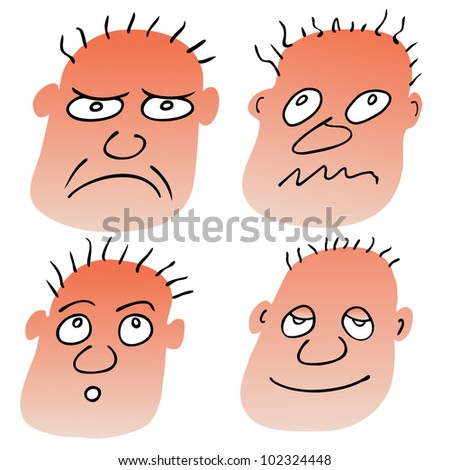 Vector illustration of the man with different facial expressions - stock vector