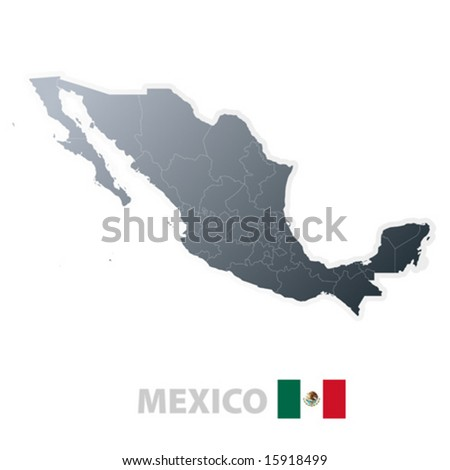 Vector illustration of the map with regions or states and the official flag of Mexico. - stock vector