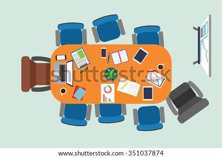 Vector illustration of the negotiating table in a boardroom meeting. Coffee break. Flat business concept. - stock vector