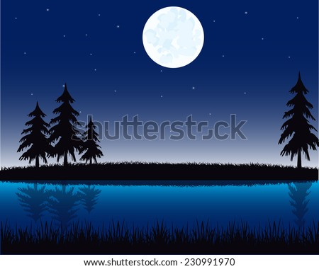 Vector illustration of the night landscape on river