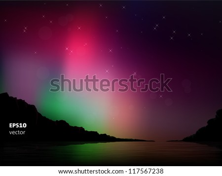 Vector illustration of the northern lights in the sky - stock vector