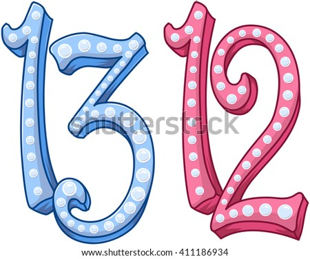Vector illustration of the numbers twelve and thirteen. - stock vector
