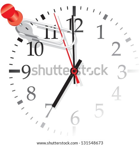 Vector illustration of the office clock face with clip on the clocks. Three seconds before seven o'clock.