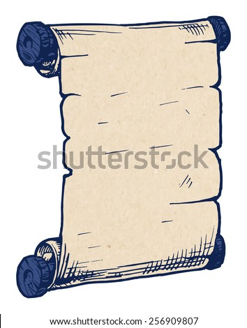 Vector illustration of the old scroll in hand drawn style.