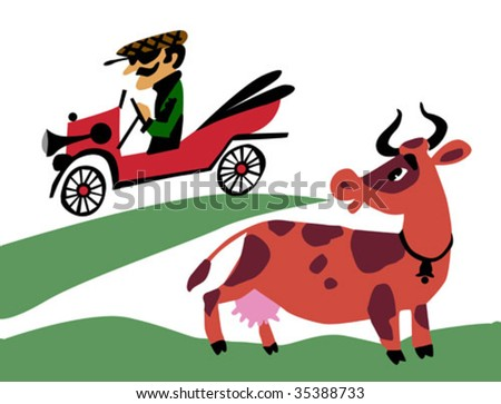 vector illustration of the old-time car on field - stock vector