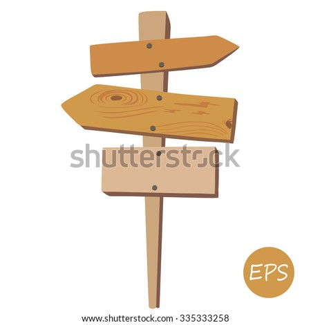 Vector illustration of  the Old wooden signpost.  - stock vector