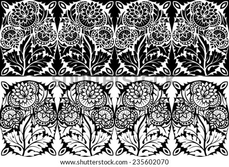 Vector illustration of the ornamental floral border for your design, two variants on the black and white background - stock vector