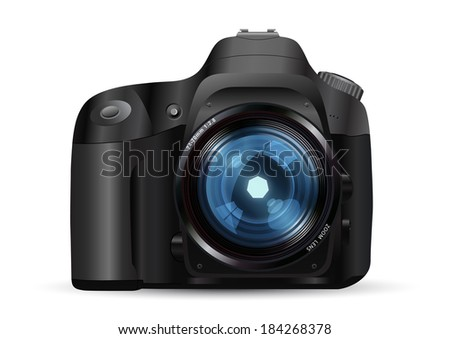 Vector illustration of the photo camera - stock vector