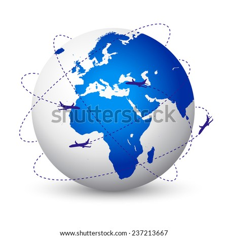 Vector illustration of the planet Earth with airplanes flying around