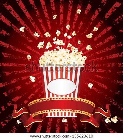 vector illustration of the popcorn explosion - stock vector