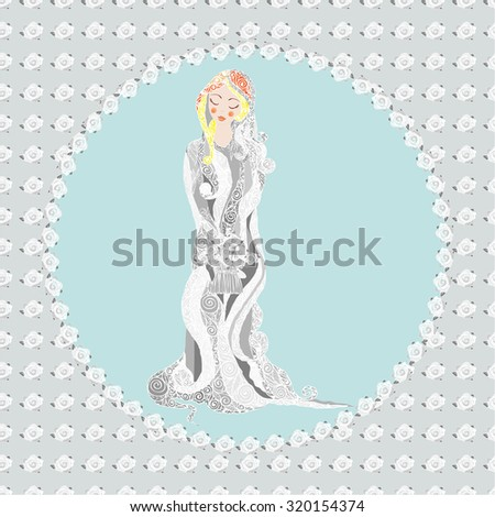 vector illustration of the postcard with bride decorated lace with bouquet in rose flower frame
