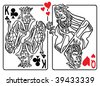 Vector illustration of the Queen of Hearts flirting with the King of Clubs - stock photo
