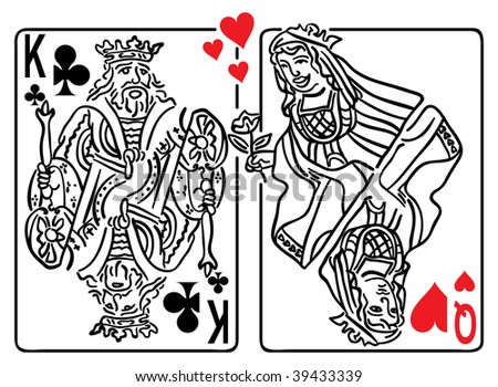 Vector illustration of the Queen of Hearts flirting with the King of Clubs - stock vector
