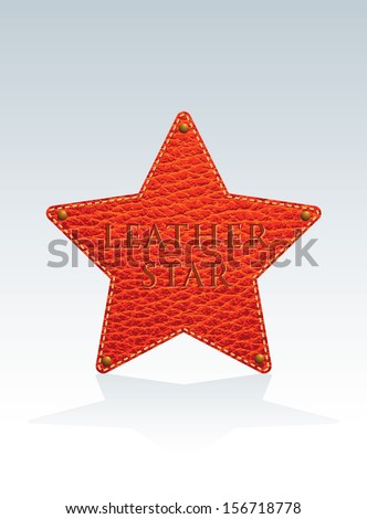 vector illustration of the red leather star with rivets - stock vector